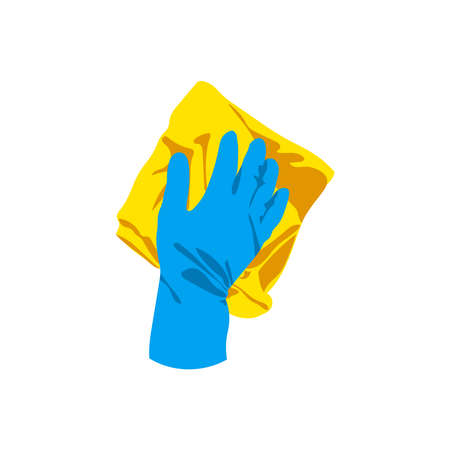 Hand in rubber glove cleaning with rug. Cleaning service, housework, hygiene cleanup chores, disinfection concept cartoon vector illustration isolated on white background 矢量图像