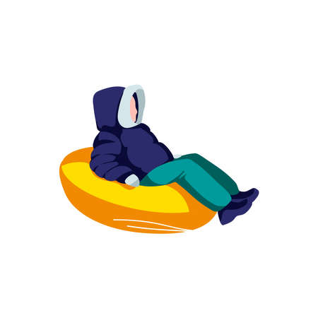 Child sliding down hill on snow rubber tube. Boy in winter clothing riding on inflatable sledge. Winter sports activities cartoon vector illustration isolated on white background