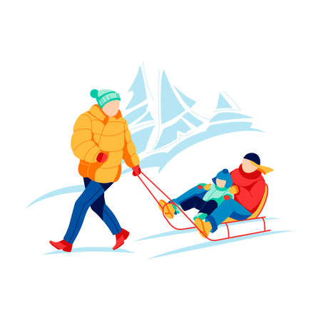 Father pulling sled with children sitting on it. Family in warm outfit spending time together and enjoying active recreation on winter holidays. Winter outdoor activities cartoon vector illustration
