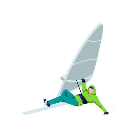 Windboarder windsurfing on snow. Athlete character in warm clothing windboarding, extreme winter sport cartoon vector illustration isolated on white background