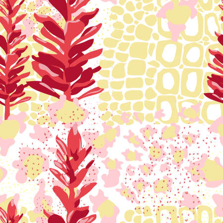 Tropical plants seamless pattern. Exotic jungle plants and ginger flowers repeating print for backdrop, wallpaper, packaging, textile floral design vector illustration