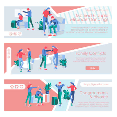 Family conflicts landing page templates set. Couple quarreling and arguing horizontal web banner. Misunderstanding between spouses, relationship breakup, divorce concept flat vector illustration