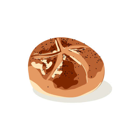 Whole rye bread of round shape. Freshly baked nutritious pastry product. Traditional brown rustic loaf flat vector illustration on white background