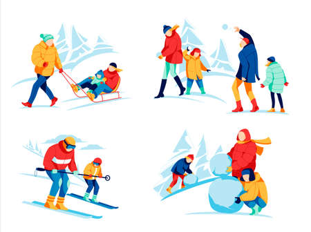 Family winter activities set. Happy parents and kids making snowman, skiing, sledding and playing snowballs together. People having fun on winter holidays, mountain resort cartoon vector illustration 矢量图像