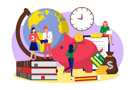 Tiny people saving money for educational expenses. Investing in knowledge, accumulation of money to achieve degree, student loan, financial aid concept cartoon vector illustration