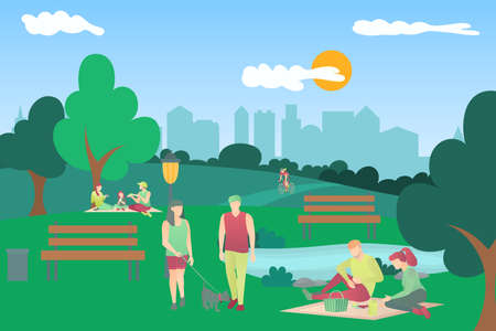 People leisure activity in urban park. People having family picnic, riding bike, walking with dog, relaxing in nature in beautiful summer landscape cartoon vector illustration 矢量图像