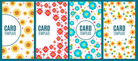 Card templates with floral seamless pattern set. Corporate card, invitation, cover, brochure with cute flowers, floral frame background design element cartoon vector illustration
