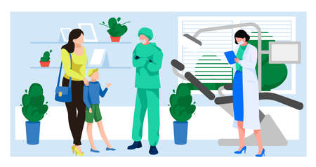 Mother and son visiting dentist in dental clinic. Doctor consulting boy patient at stomatologist office. Dentistry health, check up care, hygiene concept flat vector illustration