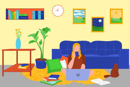 Young woman sitting on floor with laptop at home. Girl working or studying online at cosy living room interior background. Freelance, remote job, e-learning concept flat vector illustration