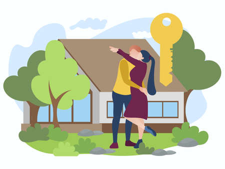 Happy family couple bought new house. Husband and wife standing in front house hugging each other. Family moving into new home, housewarming concept flat vector illustration