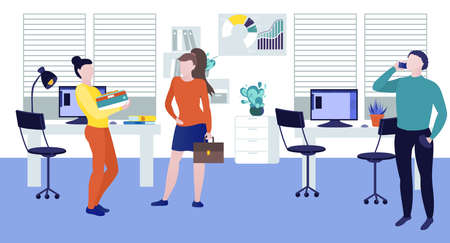 Business characters working in office. Coworking space with business people working on project. Colleagues working at computers and talking on phone in the open space office flat vector illustration