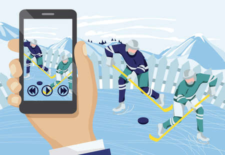 Hand recording video with hockey players. Two men playing hockey outdoors on beautiful winter landscape. Hand holding smartphone and streaming online cartoon vector illustration