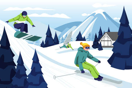 People skiing and snowboarding in ski resort. Skier and snowboarder riding down snowy hill. Sports persons having fun in winter holidays on beautiful winter landscape cartoon vector illustration