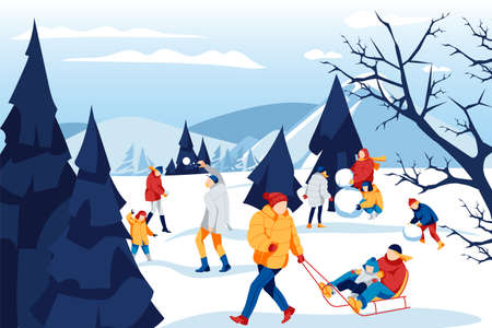 Winter outdoor activities concept. People in winter outfit spending time together and having fun on holidays. Parents and kids making snowman, sledding, playing snowballs cartoon vector illustration 矢量图像
