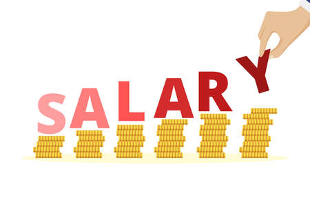 Salary increase concept. Salary increase concept. Stacked golden coins, money income growth. Revenue increase, business success, savings or investment concept flat vector illustration 矢量图像