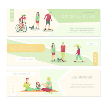 Sport activity and healthy lifestyle banners set. Family entertainment, walking and running landing page, web banner design template flat vector illustration