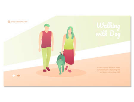 Walking with dog landing page template. Healthy active lifestyle concept. Couple walking with dog on leash website, homepage design flat vector illustration 矢量图像