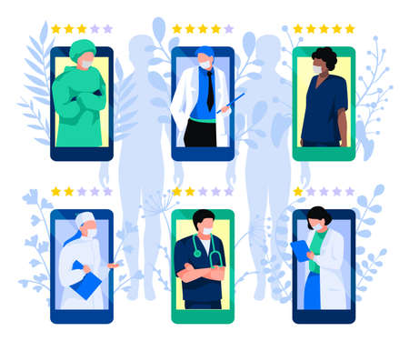 Choosing a doctor through mobile app. Rating of doctors concept. People choosing top rated doctor for treatment. Online medical consultation and diagnosis flat vector illustration