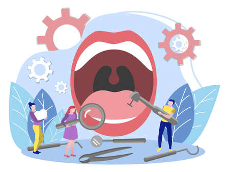 Tiny people examining open mouth. Man and women treating huge teeth using professional dental instruments. Check up, dental and oral health care concept flat vector illustration