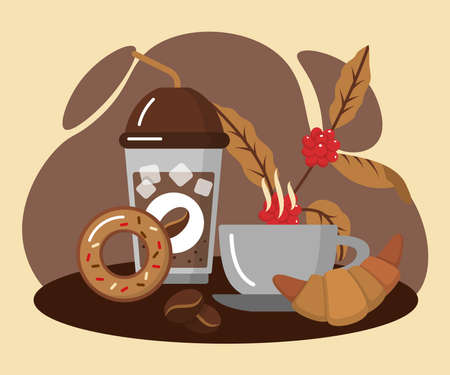 Cup of coffee and tasty desserts. Disposable coffee mug, ceramic cup of hot tea, croissant and donut. Cafe, restaurants menu, bakery shop, confectionery design flat vector illustration 矢量图像