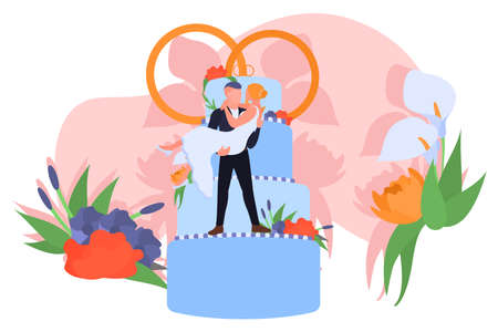 Happy romantic just married couple. Tiny couple of newlyweds standing on wedding cake with rings. Groom holding bride in his hands cartoon vector illustration