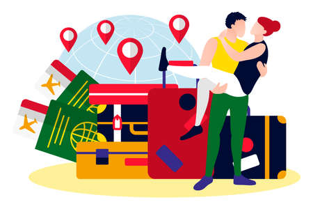 Happy romantic couple traveling over the world. Travel and rest attributes. Young man carrying woman on his hands. Suitcase, tickets and passports flat vector illustration 矢量图像