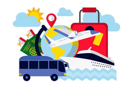 Travel around the world concept. Transport for travelling, tickets, passports and suitcase. Tourism and rest attributes collection flat vector illustration
