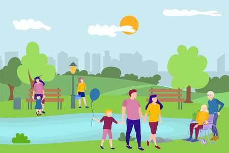 People relaxing in nature in urban park. Summer landscape with parents walking with children, elderly people relaxing outdoors, people resting on lake flat vector illustration