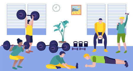 People exercising in the gym. Athletic men and women exercising with sports equipment and doing fitness exercises. Gymnastics workout, active healthy lifestyle concept flat vector illustration 矢量图像