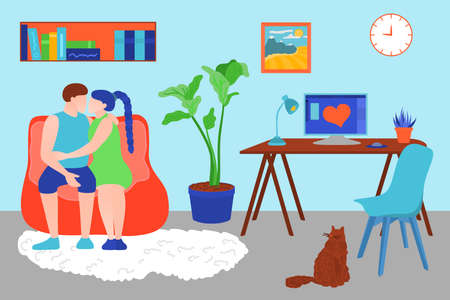 Family couple spending time at home. Young man and woman sitting on couch and embracing. Couple relaaxing at home. Cosy room interior flat vector illustration