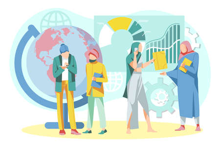 International business team working together. Businesspeople in coworking space developing successful business strategy. Business teamwork, negotiation, partnership concept flat vector illustration