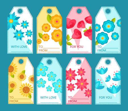 Tags with blooming flowers collection. Colorful price and gift tags with beautiful blooming flowers, floral paper labels of rectangular shape flat vector illustration