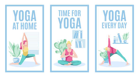 Yoga at home banners set. Yoga every day concept. Womam practicing yoga at home. Healthy lifestyle, morning fitness activities, workout. Stay at home concept flat vector illustration