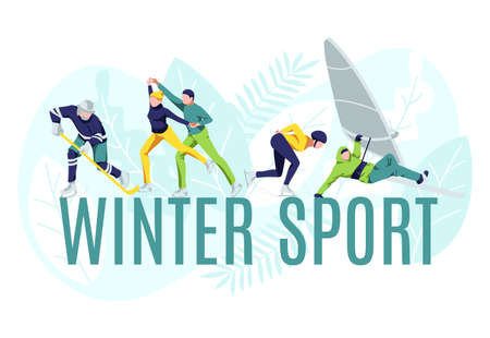 Winter sport banner template. People performing winter sports, skating, playing hockey, windsurfing. Seasonal outdoor activities and sports concept cartoon vector illustration 矢量图像