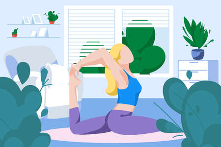 Young woman practicing yoga at home. Girl meditating in yoga posture. Healthy lifestyle, morning fitness activities, workout. Stay at home concept flat vector illustration