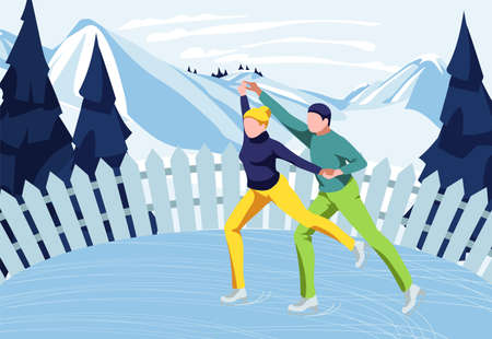 Young couple skating on ice rink. People enjoying ice skating on beautiful winter landscape. Happy couple on romantic date or having fun in winter holidays cartoon vector illustration