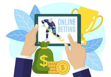 Online betting sports game. Man holdiing tablet screen and watching online sports broadcast. Hockey online sports with betting person, live bet application service flat vector illustration