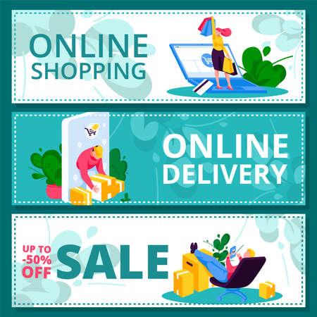Online shopping banner templates set. Sale, online delivery background, promotional leaflet, website, presentation design. E-commerce, digital marketing concept flat vector illustration