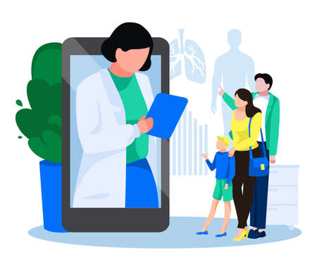 Patients meeting with doctor online. Family having medical consultation ar professional physician via smartphone. Online medical support, personal doctor concept flat vector illustration