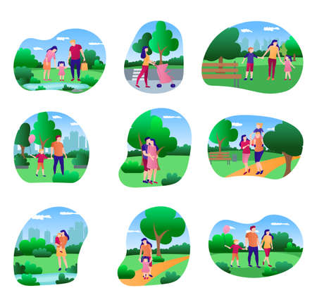 Family walking in park set. Young couple, mom, dad and kids spending time together and relaxing on nature. Family outdoor activities, holidays concept cartoon vector illustration
