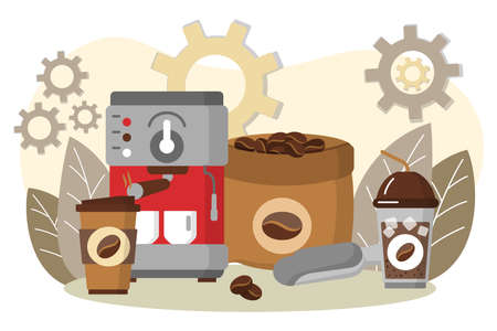 Coffee making equipment, coffee machine and cups. Espresso making machine and takeaway cups. Energetic tasty beverage concept. Coffeeshop, cafe, restaurant design flat vector illustration