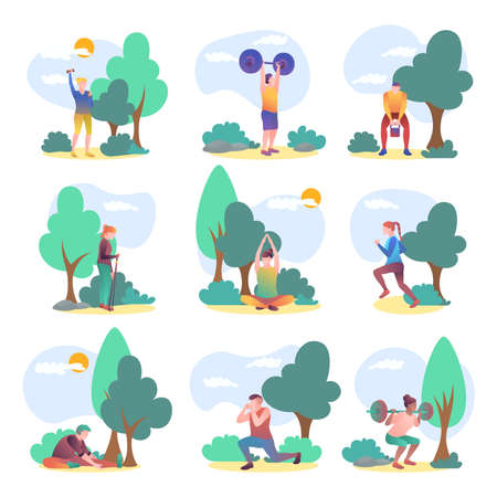 People performing sport activities outdoors set. Young man and woman exercising with sports equipment, doing yoga, jogging, nordic walking. Active healthy lifestyle concept flat vector illustration 矢量图像