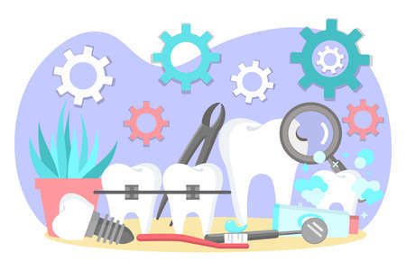 Oral treatment and dental braces. Stomatological problems, dental care and hygiene. Stomatology and orthodontics medical center concept flat vector illustration