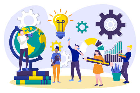 Tiny office employees working on project. Creative team at working process. Businesspeople developing successful strategy in coworking space. Cooperation, teamwork concept flat vector illustration