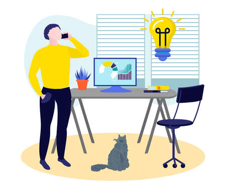 Freelancer man working at home office workplace. Successful businessman working on project using computer and smartphone. Passive income, investment, freelance, distant work flat vector illustration