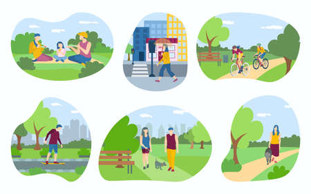 People walking in the park set. Men and women performing leisure outdoor activities, walking dog, riding bike, skateboarding, having picnic cartoon vector illustration