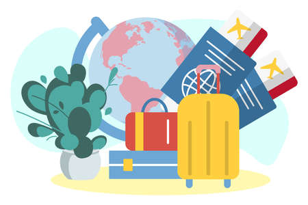 Travelling by airplane around the world. Tourism and journey attributes, earth globe, air tickets, passports and passenger luggage flat vector illustration 矢量图像