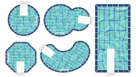 Set of swimming pools of different shapes. Top view of pools with blue water. Hotel, house, spa resort design flat vector illustration isolated on white background