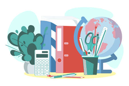 Desk folders and stationery objects. School or office supplies and tools. Workplace with analytics papers and stationary, education concept cartoon vector illustration