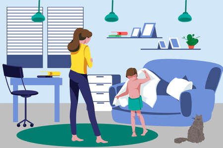 Mother and son spending time at home. Mom talking with her son who drying himself with towel. Cosy room interior flat vector illustration